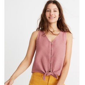 NWT Madewell Button Front Tie Tank Top